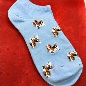 Basset Hound Blue Ladies No Show Socks